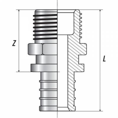 """Переходник с наружной резьбой 25xR 1"""" для труб из сшитого полиэтилена аксиальный"""