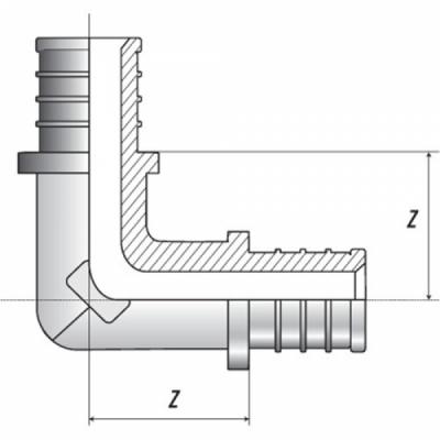 Угольник 90° 20 для труб из сшитого полиэтилена аксиальный