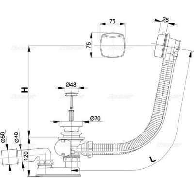 Обвязка для ванны автом. пласт. хром пробка 48мм A51CRM (Alcaplast)