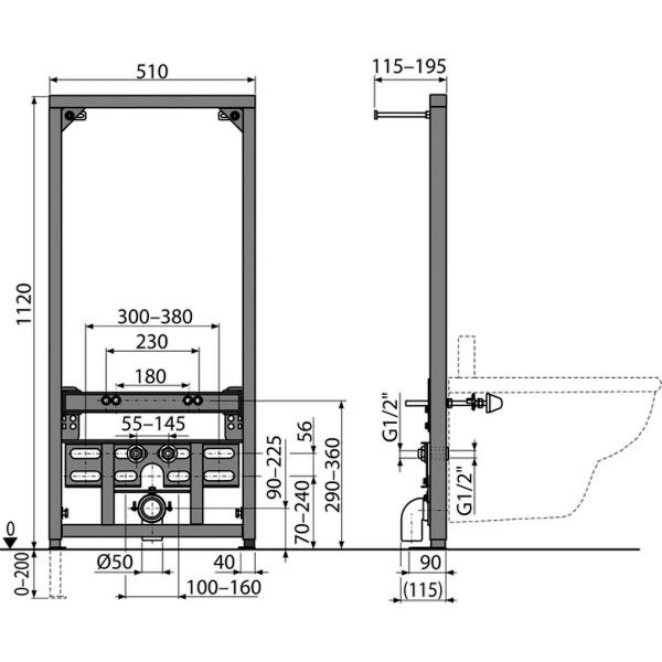 A105/1120 Рама для биде (высота монтажа 1,12 м)
