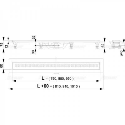 APZ9-750 Simple - Водоотводящий желоб с порогами для перфорированной решетки