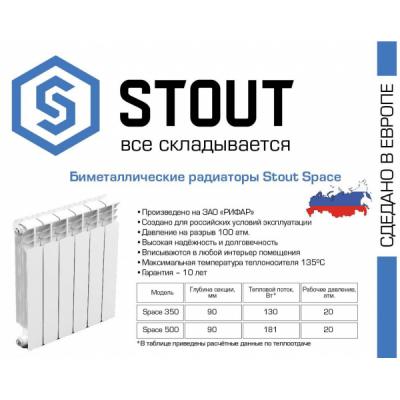 Радиатор биметаллический STOUT Space 350/80