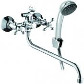 Смеситель KONNER ELEMENT CROSS ELC2610 для ванны с длинным изливом с аксессуарами