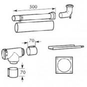Базовый комплект труб 80/125 мм PP для подключения к дымоходу Dn 80 в шахте